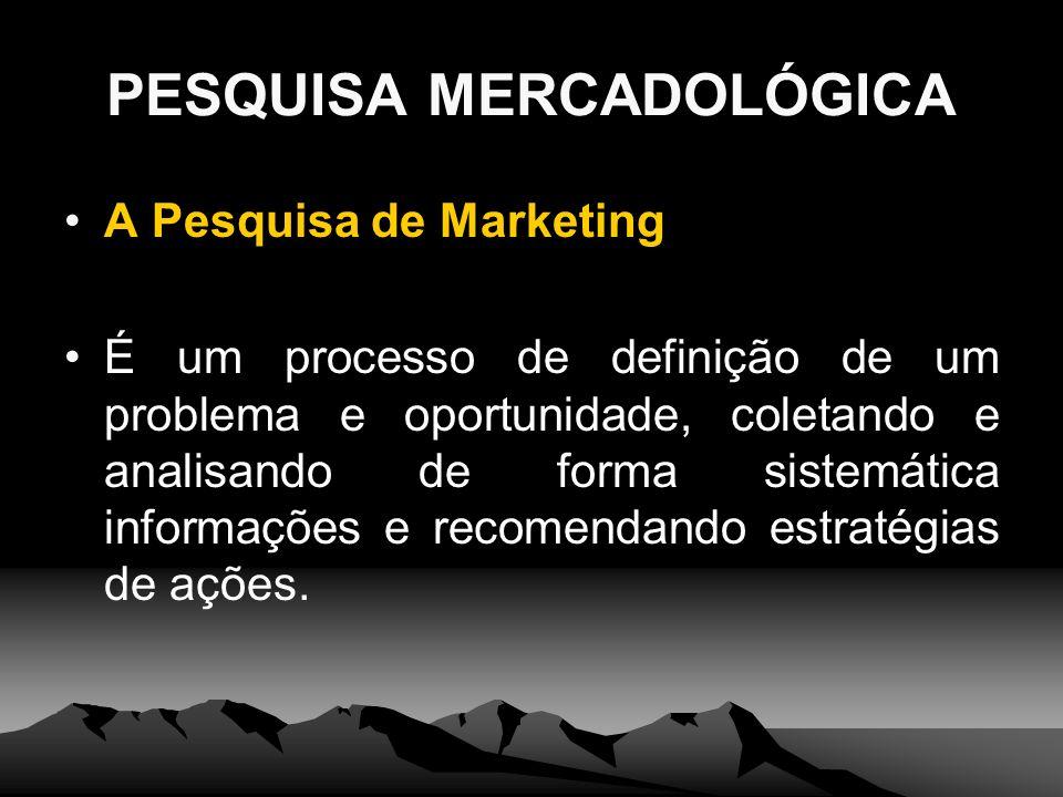 PESQUISA MERCADOLÓGICA A Pesquisa de Marketing É um processo de definição de um problema e oportunidade, coletando e analisando de forma sistemática i