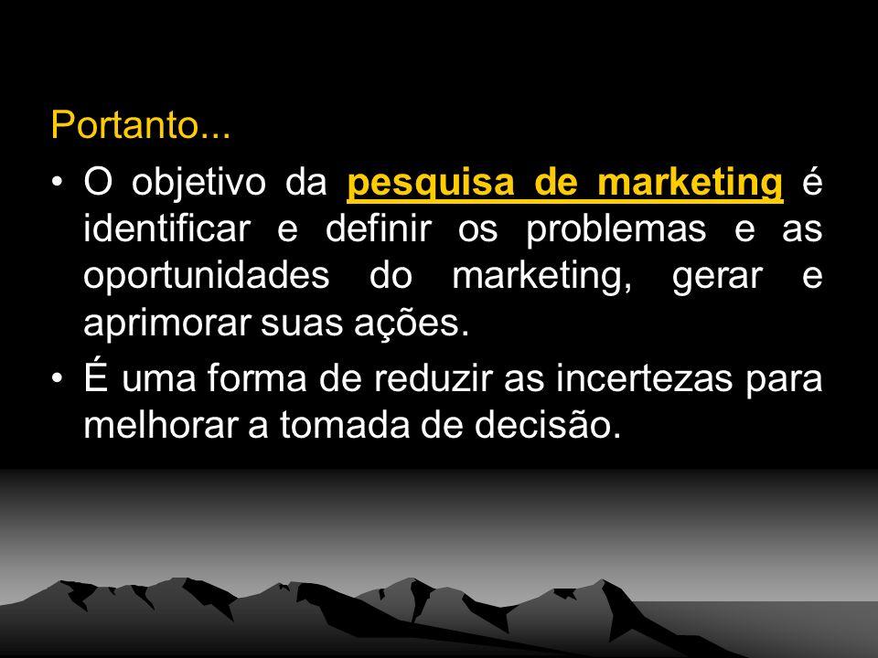 Portanto... O objetivo da pesquisa de marketing é identificar e definir os problemas e as oportunidades do marketing, gerar e aprimorar suas ações. É