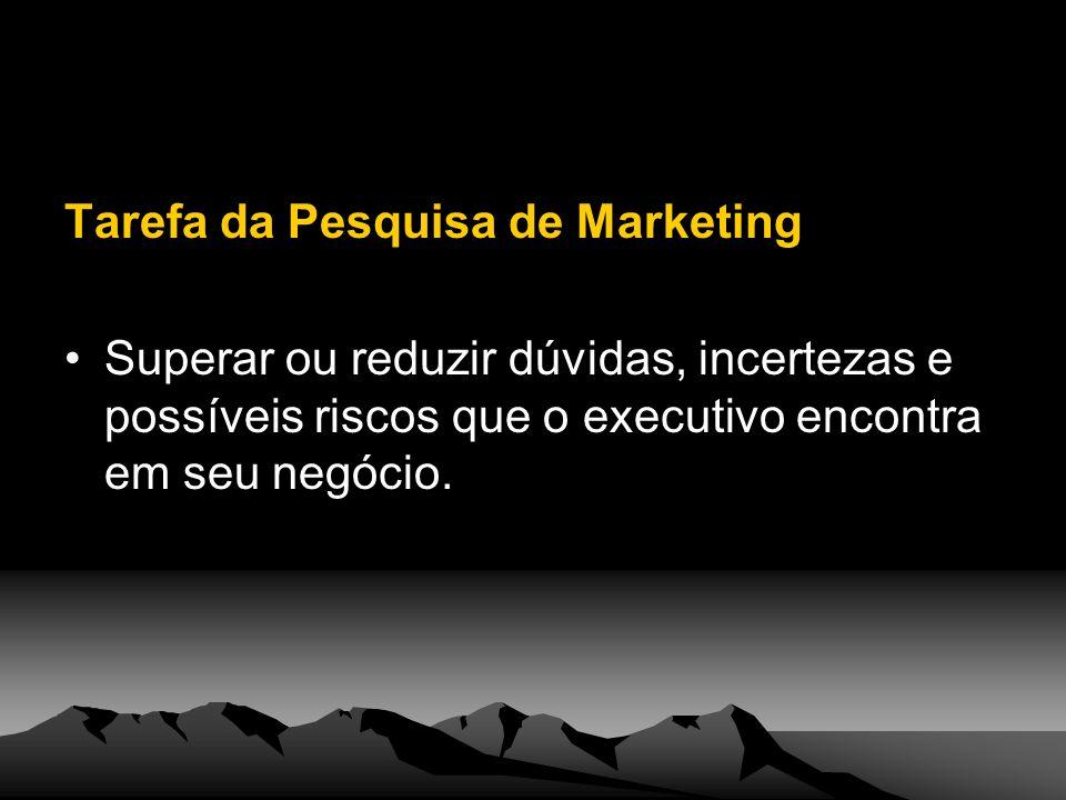 Tarefa da Pesquisa de Marketing Superar ou reduzir dúvidas, incertezas e possíveis riscos que o executivo encontra em seu negócio.