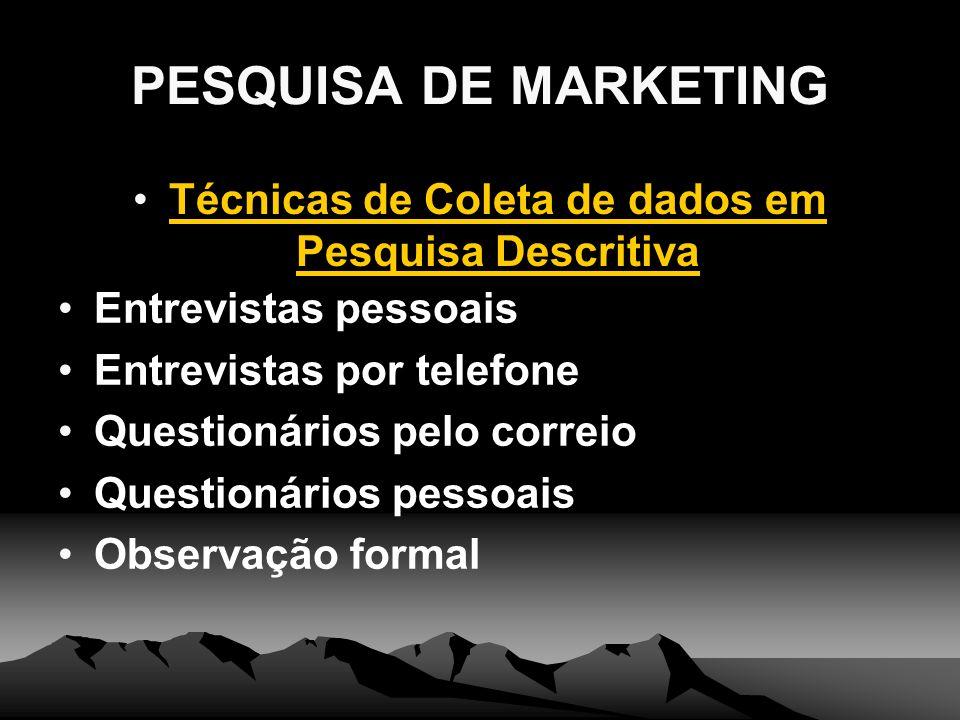 PESQUISA DE MARKETING Técnicas de Coleta de dados em Pesquisa Descritiva Entrevistas pessoais Entrevistas por telefone Questionários pelo correio Ques