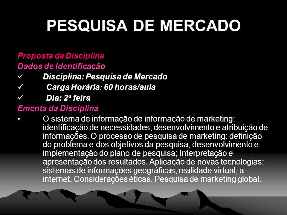 PESQUISA DE MERCADO Proposta da Disciplina Dados de Identificação Disciplina: Pesquisa de Mercado Carga Horária: 60 horas/aula Dia: 2ª feira Ementa da