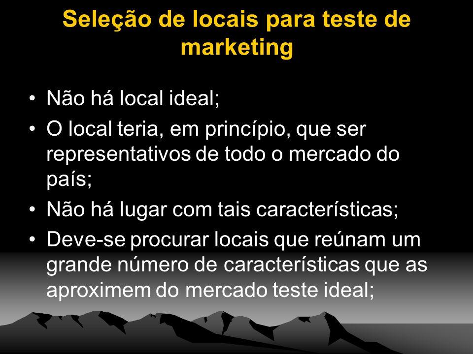 Seleção de locais para teste de marketing Não há local ideal; O local teria, em princípio, que ser representativos de todo o mercado do país; Não há l