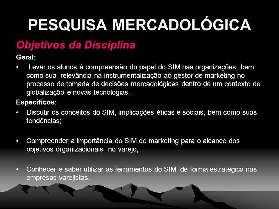 PESQUISA MERCADOLÓGICA Objetivos da Disciplina Geral: Levar os alunos à compreensão do papel do SIM nas organizações, bem como sua relevância na instr