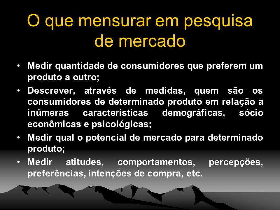 O que mensurar em pesquisa de mercado Medir quantidade de consumidores que preferem um produto a outro; Descrever, através de medidas, quem são os con