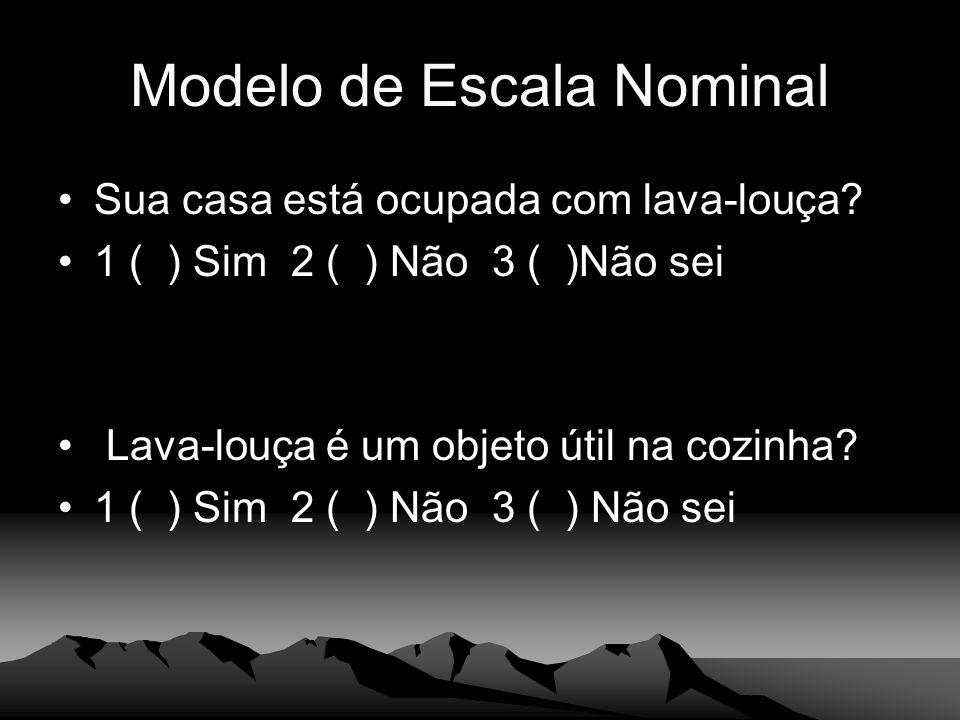Modelo de Escala Nominal Sua casa está ocupada com lava-louça? 1 ( ) Sim 2 ( ) Não 3 ( )Não sei Lava-louça é um objeto útil na cozinha? 1 ( ) Sim 2 (