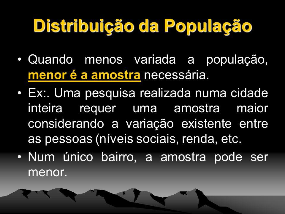 Distribuição da População Quando menos variada a população, menor é a amostra necessária. Ex:. Uma pesquisa realizada numa cidade inteira requer uma a