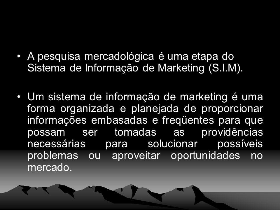 A pesquisa mercadológica é uma etapa do Sistema de Informação de Marketing (S.I.M). Um sistema de informação de marketing é uma forma organizada e pla