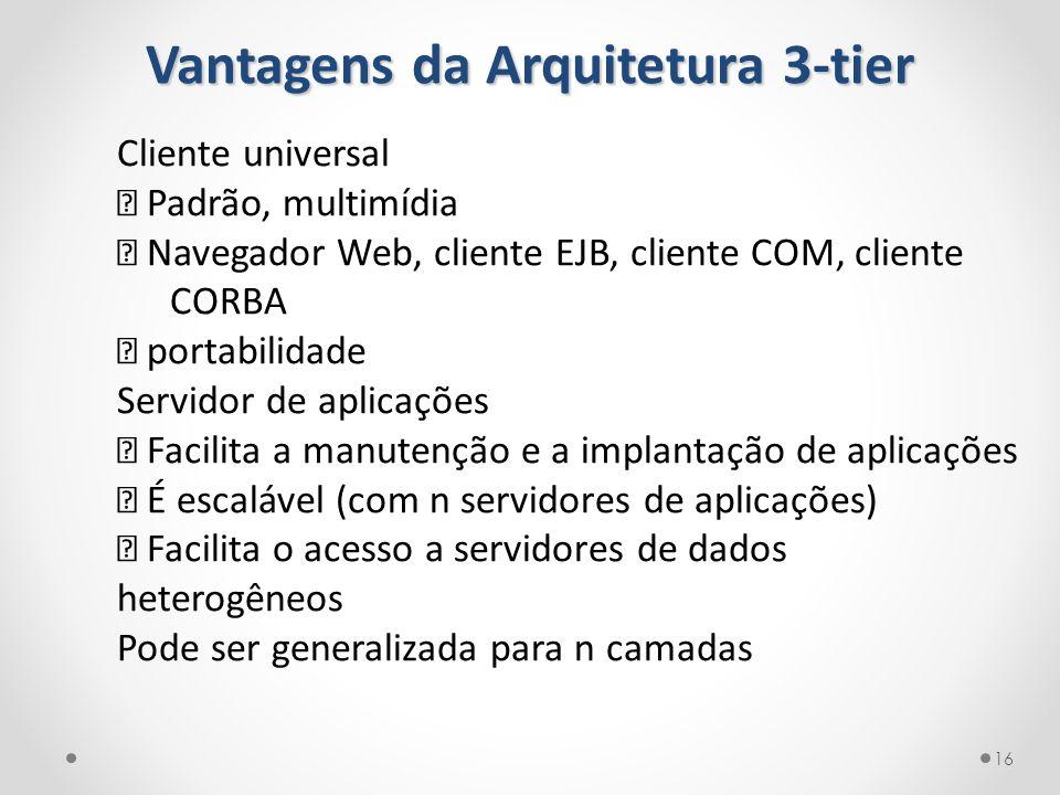 """Vantagens da Arquitetura 3-tier Cliente universal ‰ Padrão, multimídia """" Navegador Web, cliente EJB, cliente COM, cliente CORBA ‰ portabilidade Servid"""