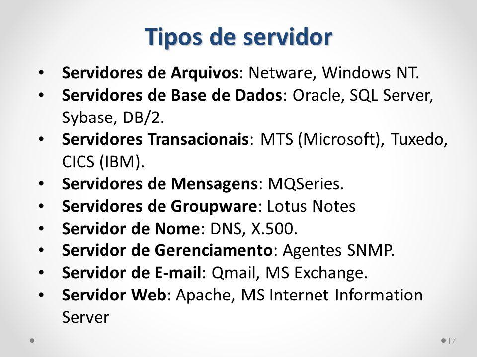 Tipos de servidor Servidores de Arquivos: Netware, Windows NT. Servidores de Base de Dados: Oracle, SQL Server, Sybase, DB/2. Servidores Transacionais