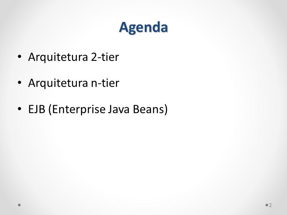 Agenda Arquitetura 2-tier Arquitetura n-tier EJB (Enterprise Java Beans) 2