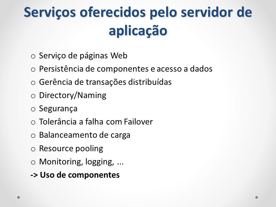 o Serviço de páginas Web o Persistência de componentes e acesso a dados o Gerência de transações distribuídas o Directory/Naming o Segurança o Tolerân