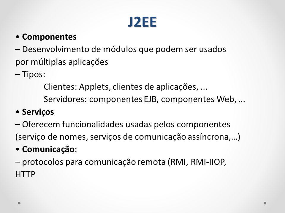 Componentes – Desenvolvimento de módulos que podem ser usados por múltiplas aplicações – Tipos: Clientes: Applets, clientes de aplicações,... Servidor
