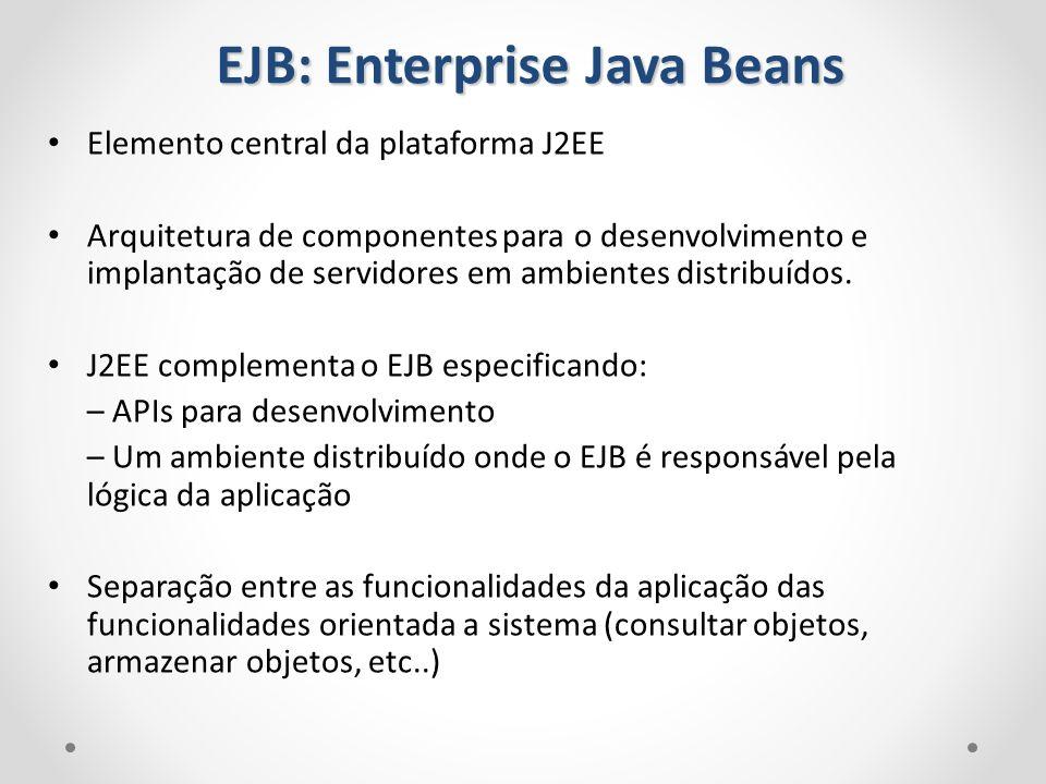Elemento central da plataforma J2EE Arquitetura de componentes para o desenvolvimento e implantação de servidores em ambientes distribuídos. J2EE comp