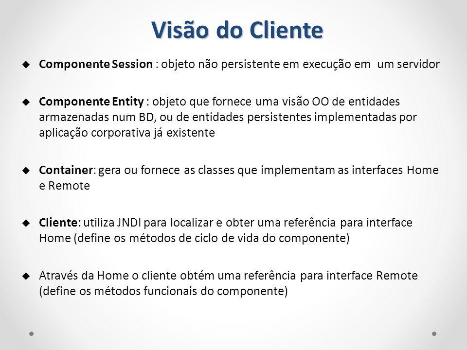 Visão do Cliente Componente Session : objeto não persistente em execução em um servidor Componente Entity : objeto que fornece uma visão OO de entidad