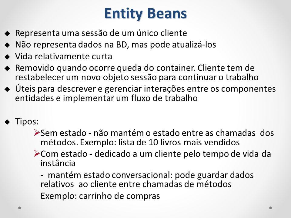 Entity Beans Representa uma sessão de um único cliente Não representa dados na BD, mas pode atualizá-los Vida relativamente curta Removido quando ocor