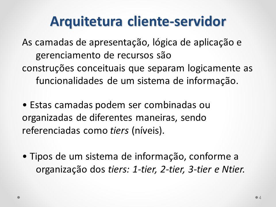 Arquitetura cliente-servidor As camadas de apresentação, lógica de aplicação e gerenciamento de recursos são construções conceituais que separam logic