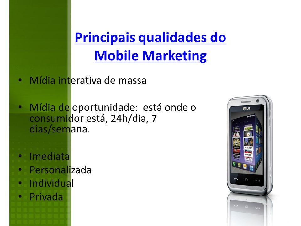 Mídia interativa de massa Mídia de oportunidade: está onde o consumidor está, 24h/dia, 7 dias/semana. Imediata Personalizada Individual Privada Princi
