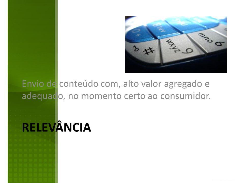RELEVÂNCIA Envio de conteúdo com, alto valor agregado e adequado, no momento certo ao consumidor.