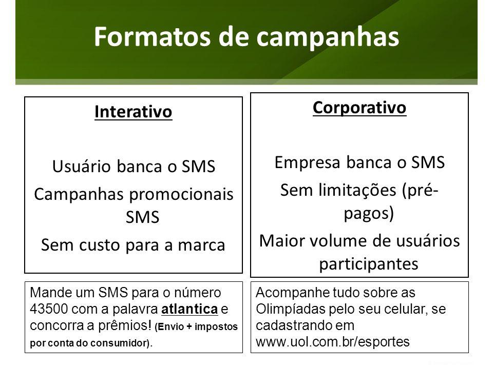 Formatos de campanhas Interativo Usuário banca o SMS Campanhas promocionais SMS Sem custo para a marca Corporativo Empresa banca o SMS Sem limitações