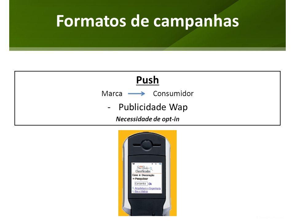 Push Marca Consumidor -Publicidade Wap Necessidade de opt-in Formatos de campanhas