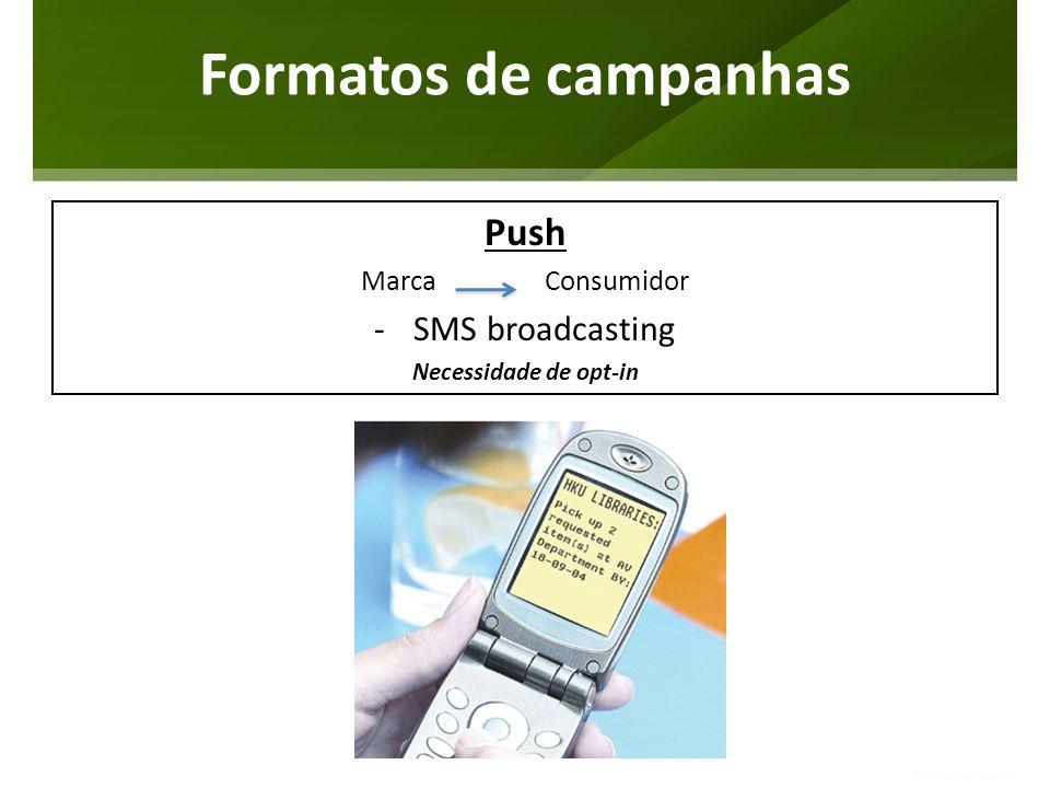 Push Marca Consumidor -SMS broadcasting Necessidade de opt-in