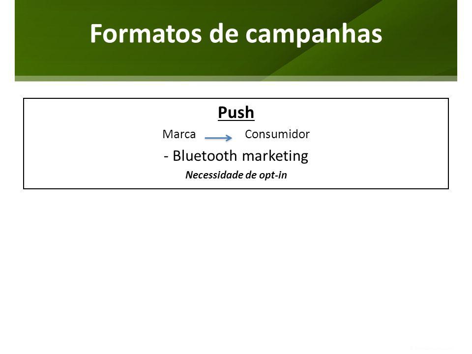 Formatos de campanhas Push Marca Consumidor - Bluetooth marketing Necessidade de opt-in