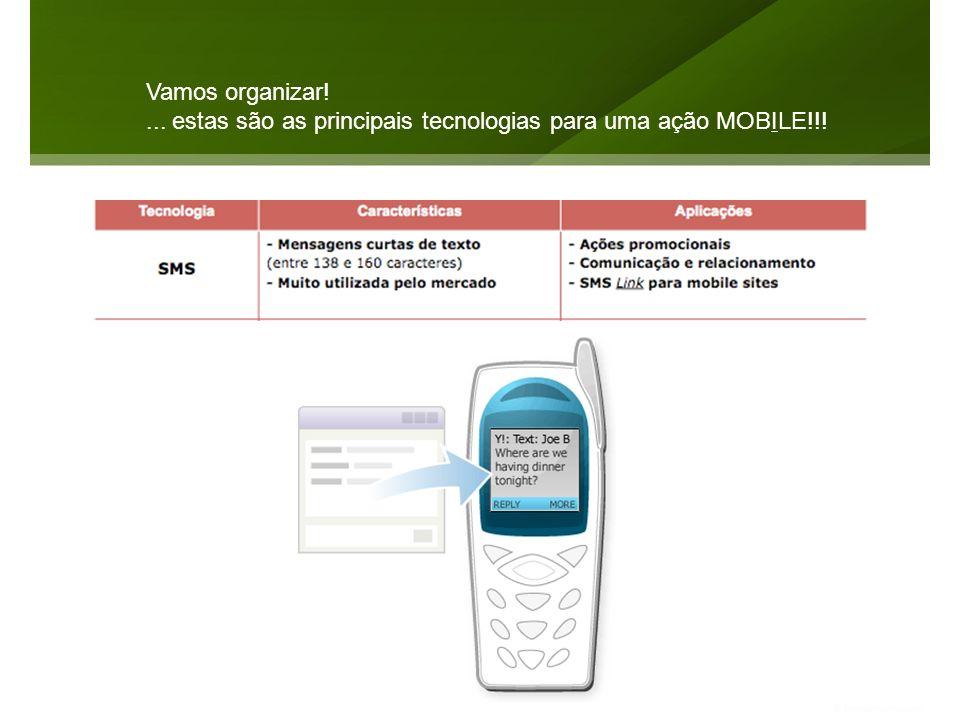 Vamos organizar!... estas são as principais tecnologias para uma ação MOBILE!!!