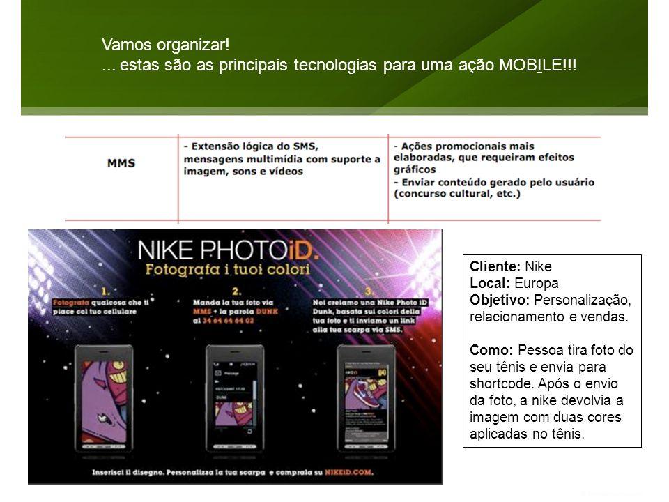 Vamos organizar!... estas são as principais tecnologias para uma ação MOBILE!!! Cliente: Nike Local: Europa Objetivo: Personalização, relacionamento e