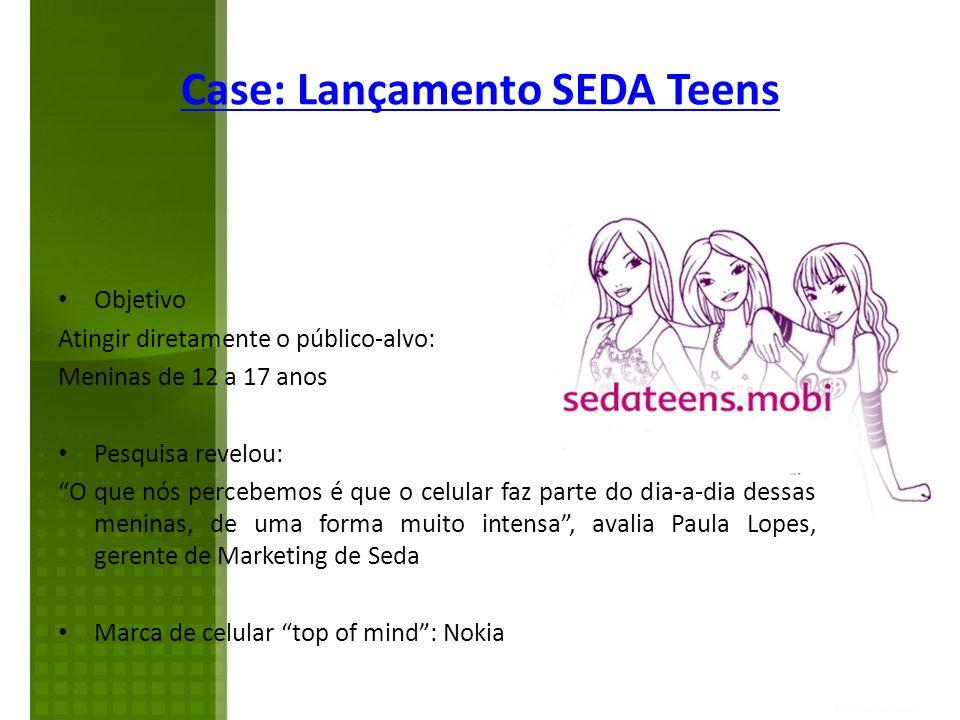 Case: Lançamento SEDA Teens Objetivo Atingir diretamente o público-alvo: Meninas de 12 a 17 anos Pesquisa revelou: O que nós percebemos é que o celula
