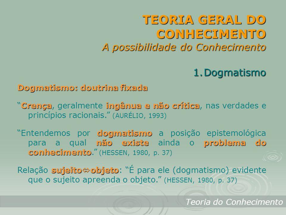 TEORIA GERAL DO CONHECIMENTO A possibilidade do Conhecimento Teoria do Conhecimento 1.Dogmatismo Dogmatismo: doutrina fixada Crençaingênua e não críti