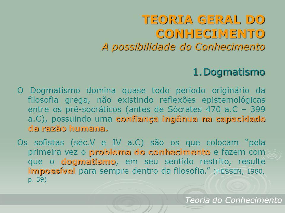 TEORIA GERAL DO CONHECIMENTO A possibilidade do Conhecimento Teoria do Conhecimento 1.Dogmatismo confiança ingênua na capacidade da razão humana. O Do