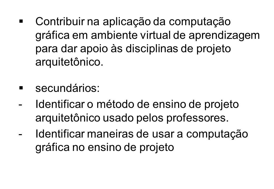 Contribuir na aplicação da computação gráfica em ambiente virtual de aprendizagem para dar apoio às disciplinas de projeto arquitetônico. secundários: