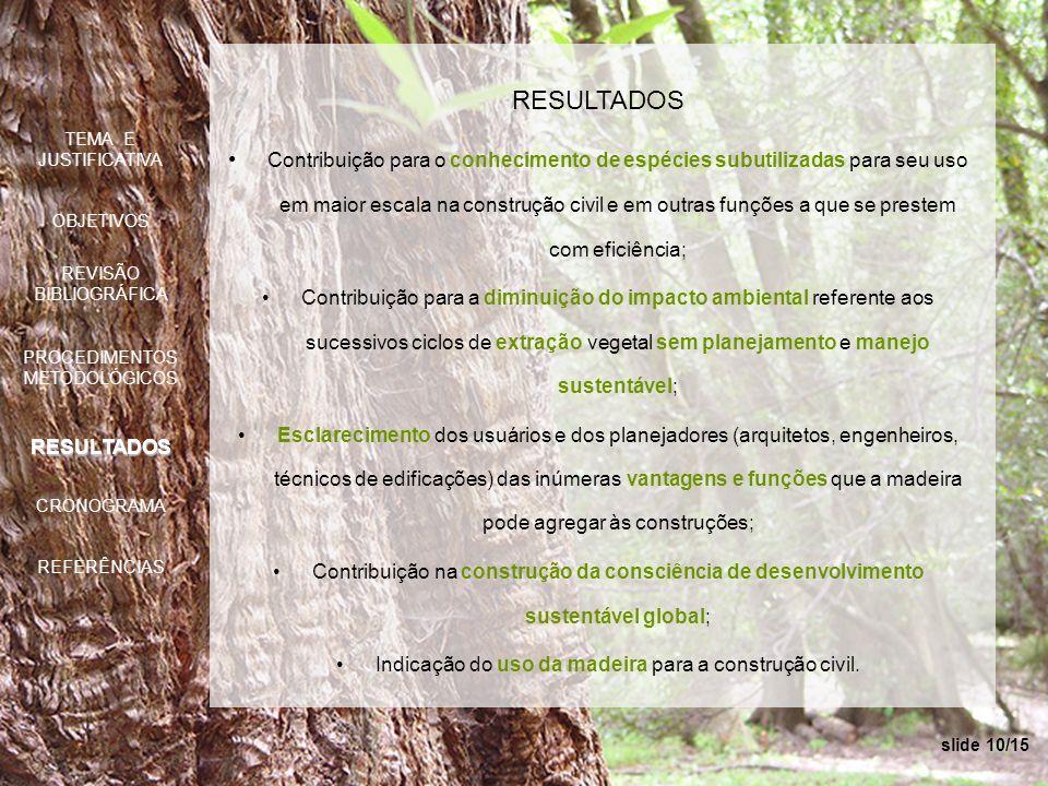 slide 10/15 RESULTADOS Contribuição para o conhecimento de espécies subutilizadas para seu uso em maior escala na construção civil e em outras funções
