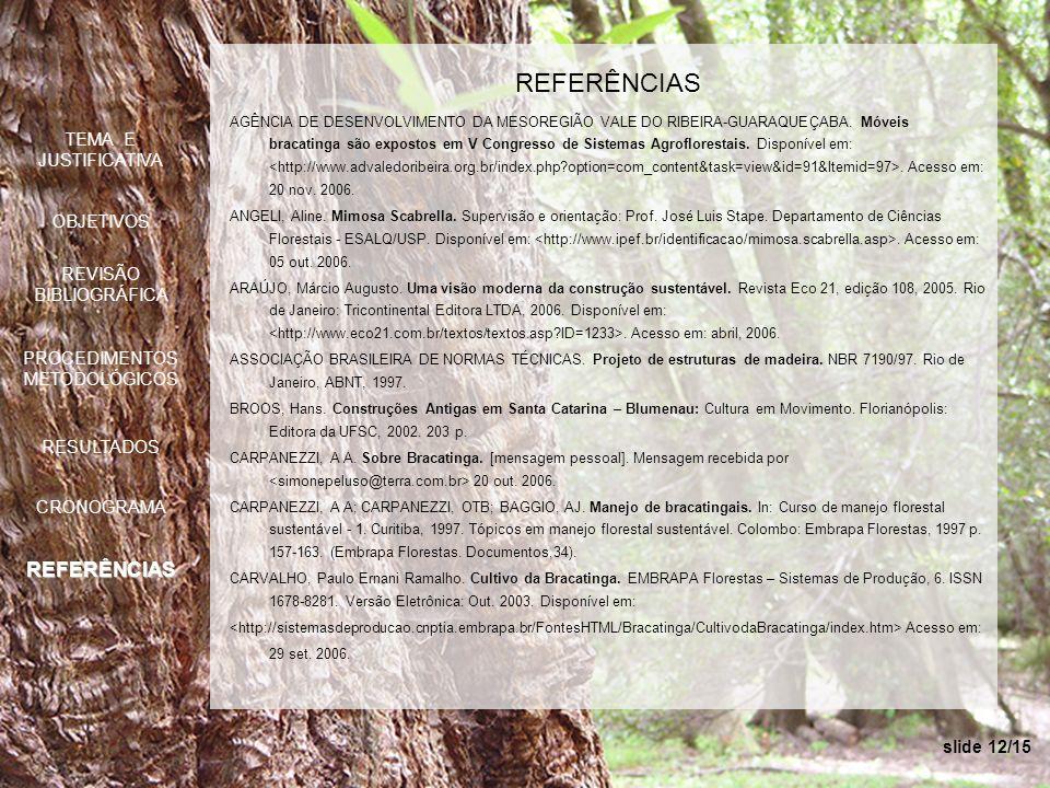 slide 12/15 REFERÊNCIAS AGÊNCIA DE DESENVOLVIMENTO DA MESOREGIÃO VALE DO RIBEIRA-GUARAQUEÇABA. Móveis bracatinga são expostos em V Congresso de Sistem