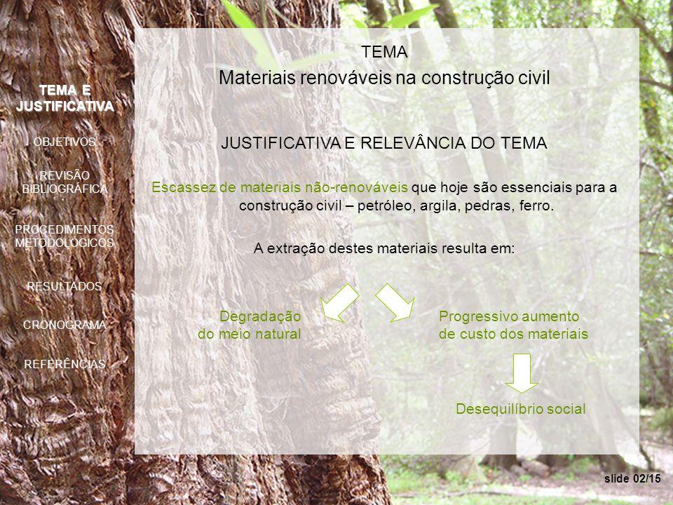 TEMA Materiais renováveis na construção civil JUSTIFICATIVA E RELEVÂNCIA DO TEMA Escassez de materiais não-renováveis que hoje são essenciais para a c