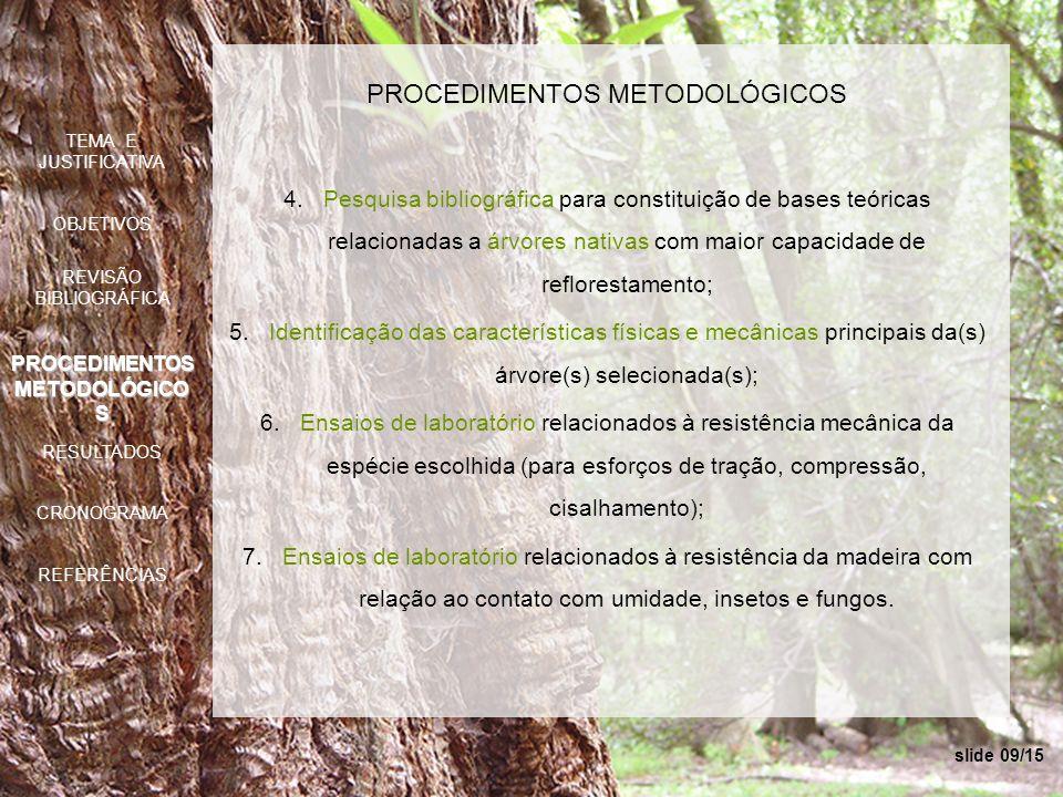 slide 09/15 PROCEDIMENTOS METODOLÓGICOS 4.Pesquisa bibliográfica para constituição de bases teóricas relacionadas a árvores nativas com maior capacida
