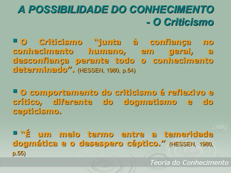 Teoria do Conhecimento O Criticismo junta à confiança no conhecimento humano, em geral, a desconfiança perante todo o conhecimento determinado. (HESSE