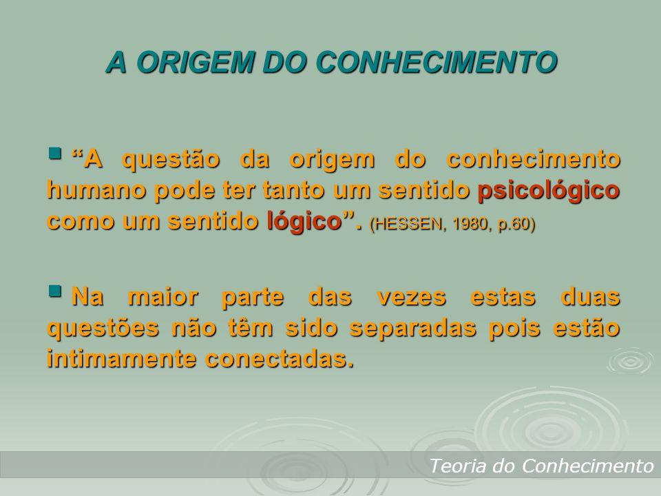 Teoria do Conhecimento A questão da origem do conhecimento humano pode ter tanto um sentido psicológico como um sentido lógico. (HESSEN, 1980, p.60) A
