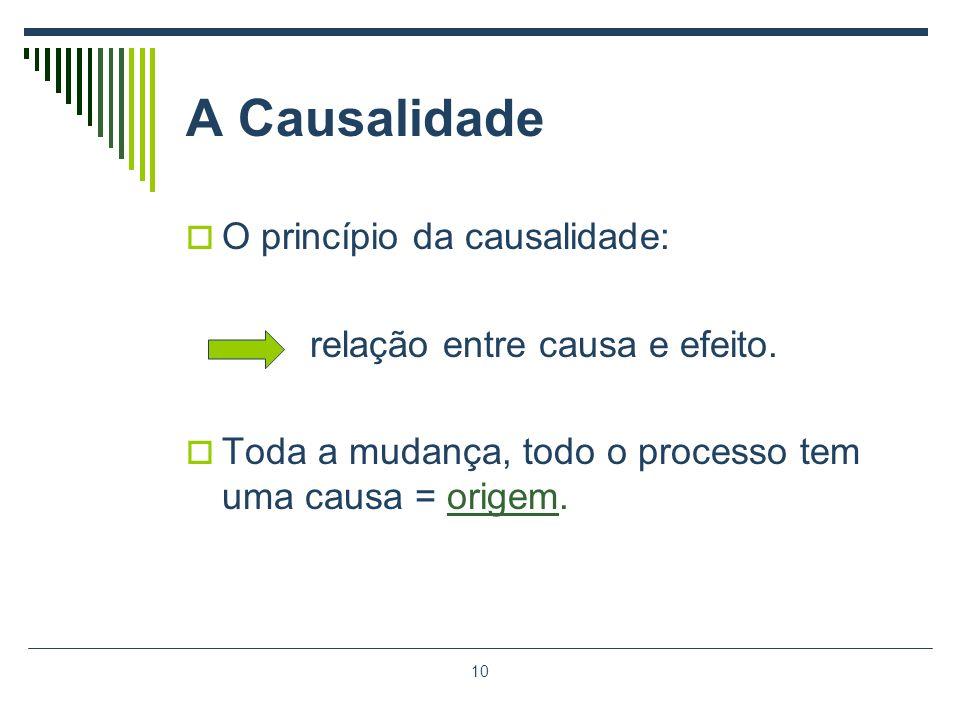 10 A Causalidade O princípio da causalidade: relação entre causa e efeito. Toda a mudança, todo o processo tem uma causa = origem.