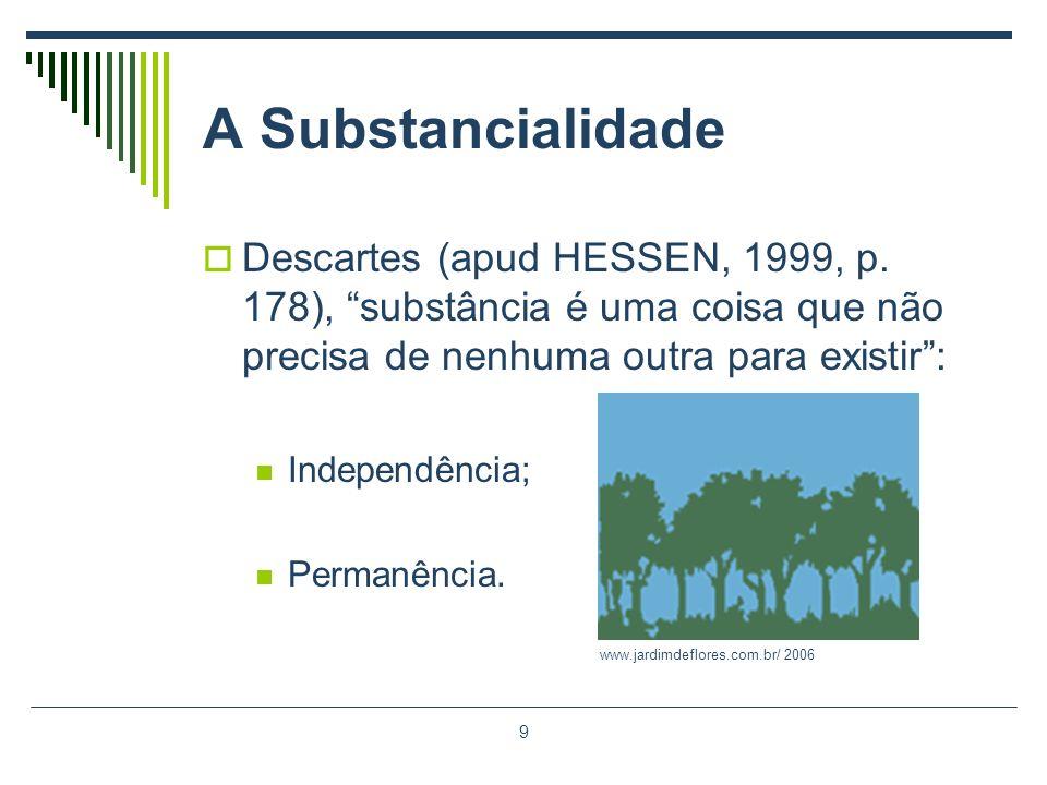 9 A Substancialidade Descartes (apud HESSEN, 1999, p. 178), substância é uma coisa que não precisa de nenhuma outra para existir: Independência; Perma