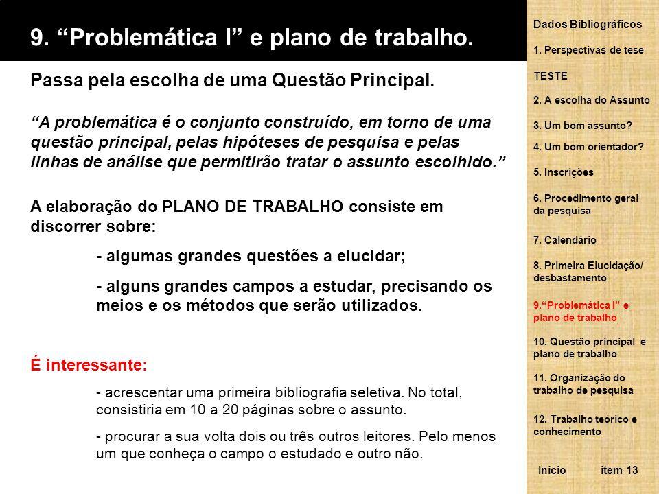 10.Questão principal e plano de trabalho.