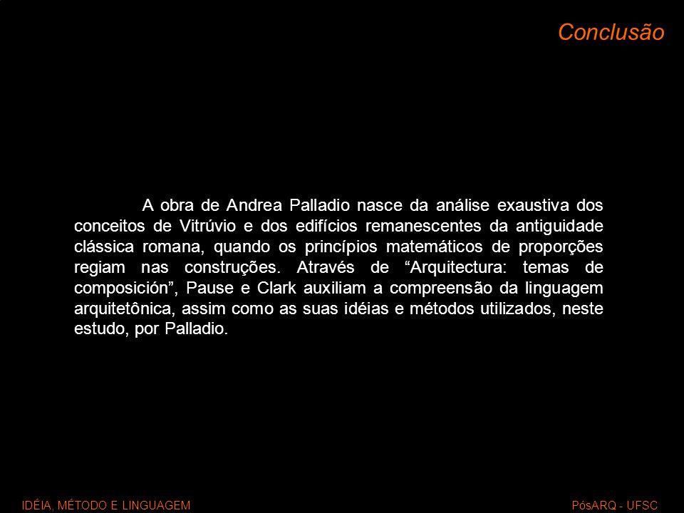 IDÉIA, MÉTODO E LINGUAGEM PósARQ - UFSC Conclusão A obra de Andrea Palladio nasce da análise exaustiva dos conceitos de Vitrúvio e dos edifícios reman