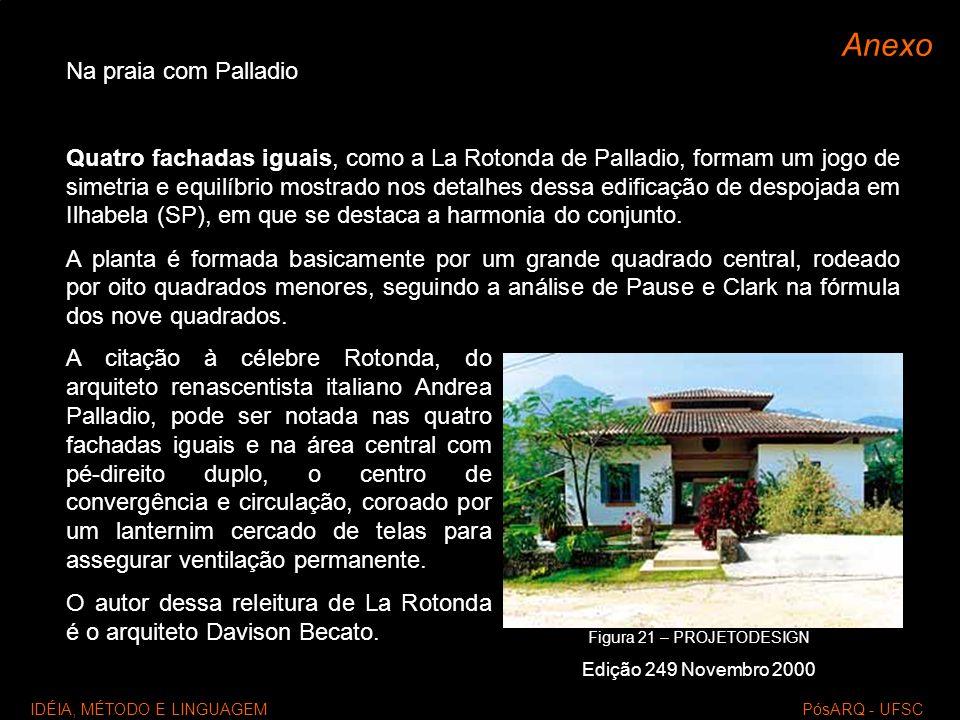 IDÉIA, MÉTODO E LINGUAGEM PósARQ - UFSC Anexo Na praia com Palladio Quatro fachadas iguais, como a La Rotonda de Palladio, formam um jogo de simetria
