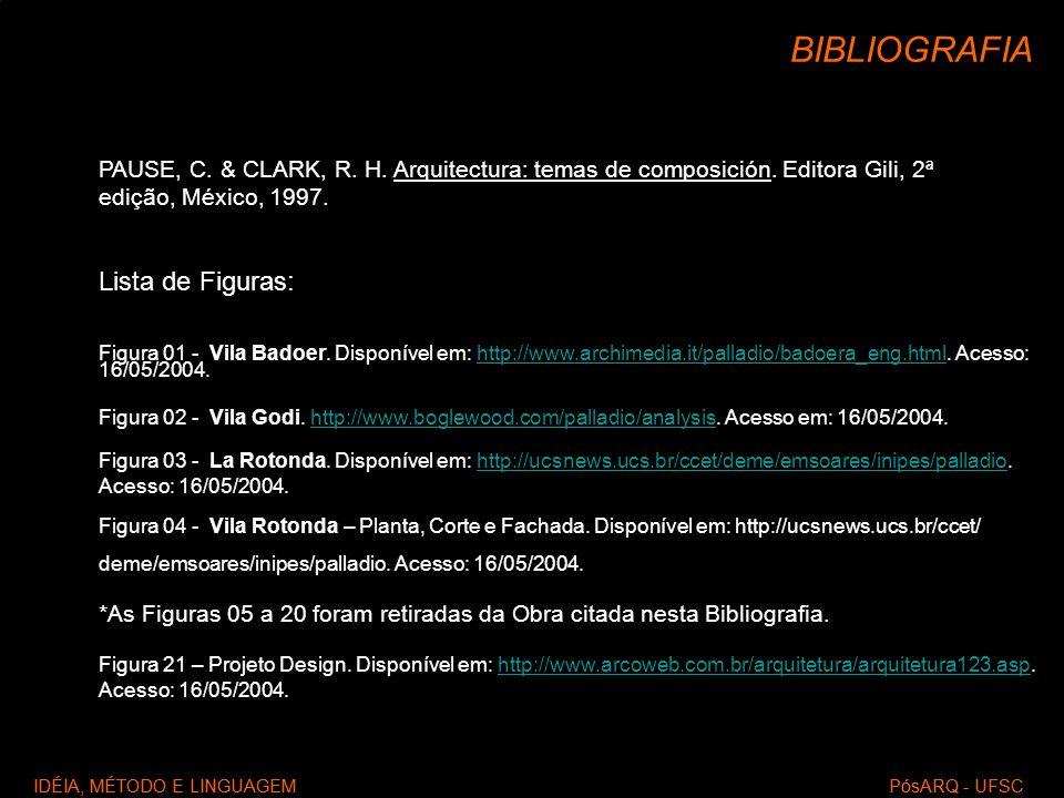 IDÉIA, MÉTODO E LINGUAGEM PósARQ - UFSC BIBLIOGRAFIA PAUSE, C. & CLARK, R. H. Arquitectura: temas de composición. Editora Gili, 2ª edição, México, 199
