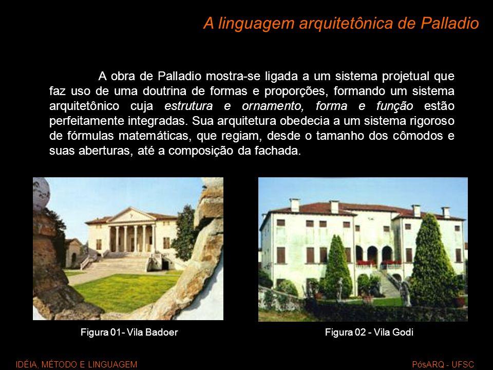 A linguagem arquitetônica de Palladio A obra de Palladio mostra-se ligada a um sistema projetual que faz uso de uma doutrina de formas e proporções, f