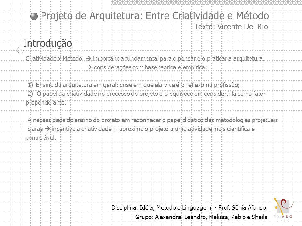 Projeto de Arquitetura: Entre Criatividade e Método Texto: Vicente Del Rio Disciplina: Idéia, Método e Linguagem - Prof. Sônia Afonso Grupo: Alexandra