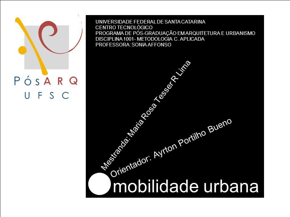 mobilidade urbana UNIVERSIDADE FEDERAL DE SANTA CATARINA CENTRO TECNOLÓGICO PROGRAMA DE PÓS-GRADUAÇÃO EM ARQUITETURA E URBANISMO DISCIPLINA 1001- METODOLOGIA C.
