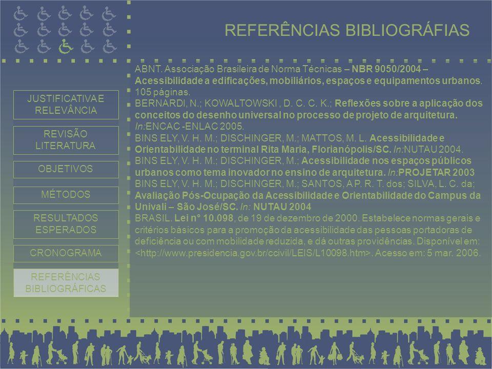 REFERÊNCIAS BIBLIOGRÁFIAS ABNT. Associação Brasileira de Norma Técnicas – NBR 9050/2004 – Acessibilidade a edificações, mobiliários, espaços e equipam