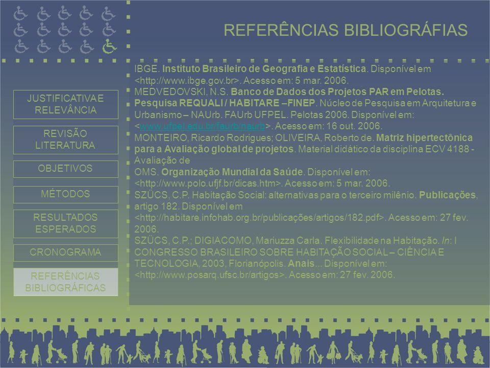 IBGE. Instituto Brasileiro de Geografia e Estatística. Disponível em. Acesso em: 5 mar. 2006. MEDVEDOVSKI, N.S. Banco de Dados dos Projetos PAR em Pel