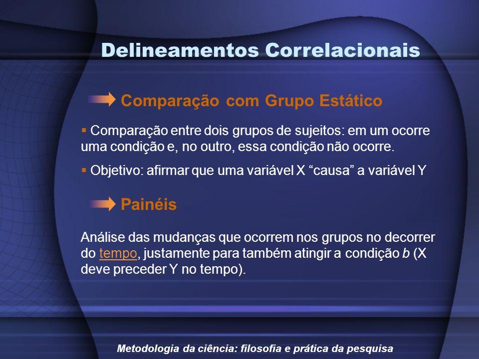 Delineamentos Correlacionais Comparação com Grupo Estático Metodologia da ciência: filosofia e prática da pesquisa Comparação entre dois grupos de suj